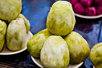 Close_up of prickly pears at a market stall, Zacatecas State, Mexico