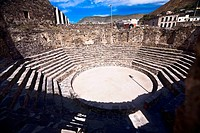 High angle view of old ruins of an amphitheater, Real De Catorce, San Luis Potosi, Mexico