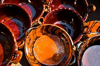 Close_up of saucepans at a market stall, Xochimilco, Mexico