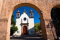 Church viewed through an arch, Iglesia De Maria Lourdes, Morelia, Michoacan State, Mexico