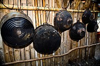 Woks hanging on bamboos, Hidalgo, Papantla, Veracruz, Mexico (thumbnail)