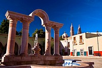 Fountain in front of a building, Zacatecas, Mexico
