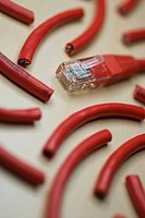 Close_up of pieces of a computer cable
