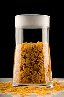 Close_up of corn flakes in a jar