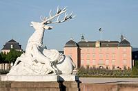 Hunting sculpture, stag and hound, baroque gardens, castle Schwetzingen, Baden-Wuerttemberg, Germany