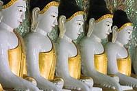 Buddha images, Umin Thounzeh 30 Caves, Sagaing, Sagaing Hill, near Mandalay, Myanmar Burma, Asia