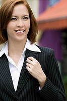 Close_up of a businesswoman smiling