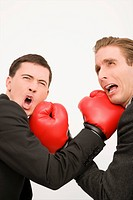 Side profile of two businessmen boxing