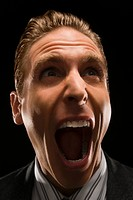 Close_up of a businessman shouting