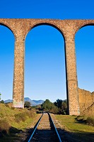 Railroad track passing through an arcade, Arcos Del Padre Tembleque, Tepeyahualco, Hidalgo, Mexico