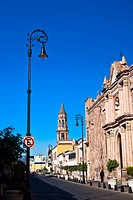 Buildings along a street, Venustiano Carranza Street, Aguascalientes, Mexico