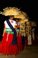 Folk dancers performing traditional dance, Janitzio Island, Morelia, Michoacan State, Mexico