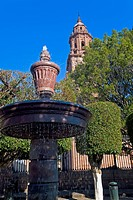 Fountain in front of a cathedral, Morelia Cathedral, Morelia, Michoacan State, Mexico