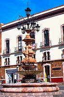 Low angle view of a fountain in front of a building, Fuente De Los Faroles, Zacatecas, Mexico