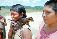 Gorotire Indian girl with pet coati, Xingu, Brazil, South America