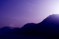 Silhouette of mountains at dusk, Costiera Amalfitana, Salerno, Campania, Italy