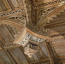 St. David's Cathedral, Pembroke, Wales. Detail of pendant, nave ceiling. Built upon the site, in the far southwest of Pembrokeshire, of St David's 6th...