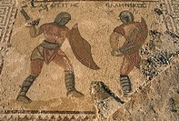 Detail of mosaic showing fighting warriors with swords and shields, Kourion, Cyprus, Europe