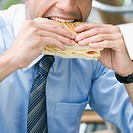 Close_up of a businessman eating a cheese sandwich