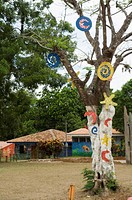 Decorated trees and buildings in Punta Islita, Nicoya Pennisula, Pacific Coast, Costa Rica, Central America