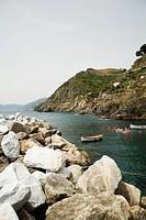 Rocks at seaside, Cinque Terre National Park, RioMaggiore, Cinque Terre, La Spezia, Liguria, Italy