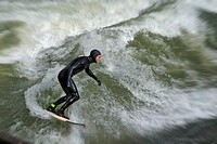 Eisbach Surfer, Munich, Bavaria, Germany