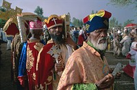 Portrait of men in procession during the Christian festival of Rameaux, Axoum Axum, Tigre region, Ethiopia, Africa