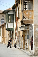 Old Turkish architecture with bays at the houses in the streets of old town Lefkosa Nicosia North Cyprus
