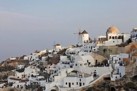 View from the Lontza fort to the village, Oia, Santorini, Greece