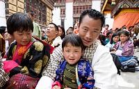 Pilgrims at religious festival, Buddhist festival Tsechu, Trashi Chhoe Dzong, Thimphu, Bhutan, Asia
