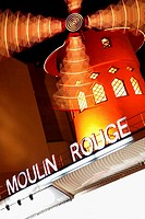 Night view of Moulin Rouge nightclub, Paris. France