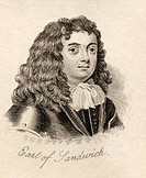 Edward Montagu 1st Earl of Sandwich, Viscount Hinchingbrooke, 1625 - 1672 English admiral From the book Crabb's Historical Dictionary published 1825