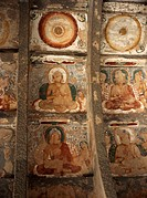 One thousand Buddhas, painted between roof ribs on ceiling dating from 2nd century, Cave 10, Ajanta Caves, UNESCO World Heritage Site, Maharashtra sta...