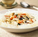 Seafood and mushroom stir_fry on rice noodles