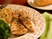 Grilled Seasoned Chicken Breasts with Rice and Broccoli