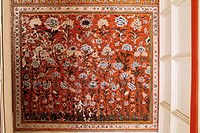 Detail of a painted wall in the Sheesh Mahal mirrored hall hall of mirrors, Kuchaman Fort, Kuchaman, Rajasthan state, India, Asia