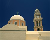 Close_up of a church dome and bell tower with clock, in the village of Oia, Santorini Thira, Cyclades Islands, Greek Islands, Greece, Europe