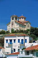 Church on hill above Batsi, Andros, Cyclades Islands, Greek Islands, Greece, Europe