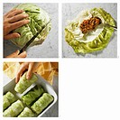 Making cabbage roulades with vegetarian filling