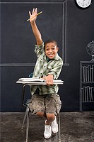 Portrait of a boy with his arm raised (thumbnail)