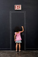 Girl knocking door
