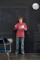 A boy giving a presentation