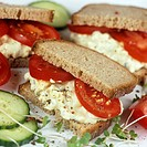 Egg mayonnaise and tomato sandwiches