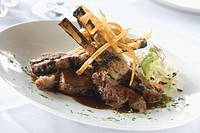 Lamb Chops with Potato Strips and Cole Slaw