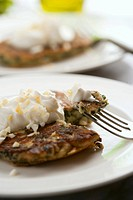 Vegetable Pancake with Sour Cream
