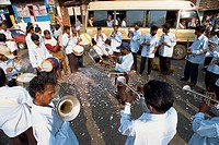 Band playing during roadside festival, Kerala state, India, Asia