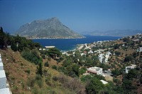 The island of Telendos in Panormos Bay on the island of Kalymnos, Dodecanese, Greek Islands, Greece, Europe