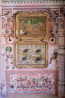 Juna Mahal old palace, one of the finest examples of a painted palace, Dungarpur, Rajasthan state, India, Asia