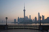 View from the Bund over the Huangpu River, Skyline of Pudong, Shanghai, China