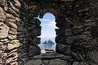 View to the bird island Little Skellig from the the monk settlement which was founded 588 and was abandoned about 1100, Skellig Michael, Ireland